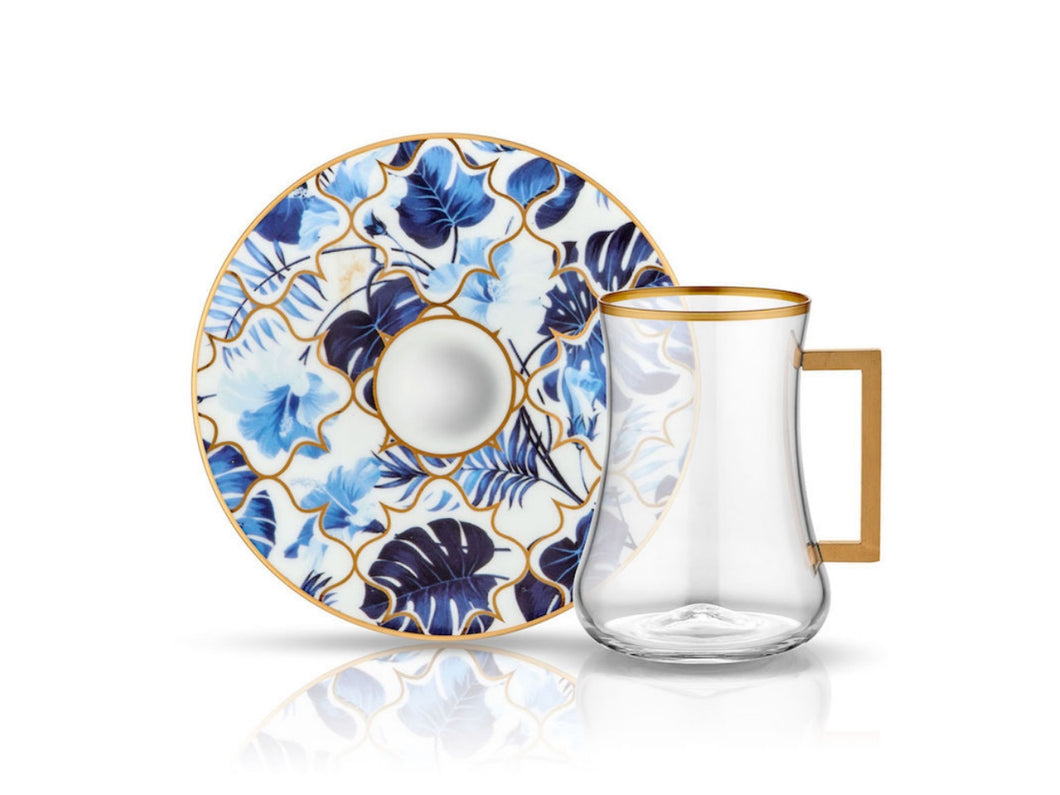 Dervish Amazon Blue Handle Tea Glass and Saucer-Tea Sets-K-United
