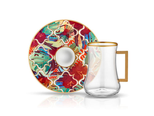 Dervish Amazon Tropic Handle Tea Glass and Saucer-Tea Sets-K-United