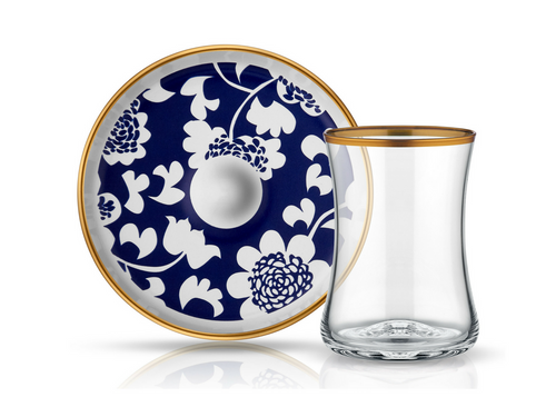 Istanbul Tiryaki Tea Glass and Saucer - Blue Blanc Gun-Tea Sets-K-United