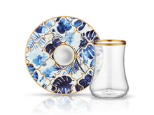 Dervish Amazon Blue Tea Glass and Saucer-Tea Sets-K-United