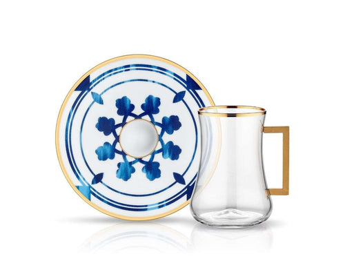 Dervish Azra Handle Tea Glass and Saucer-Tea Sets-K-United