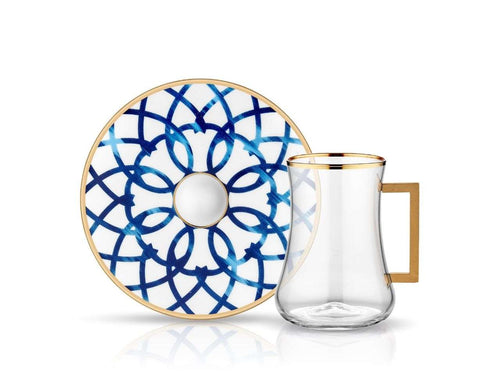 Dervish Bianca Handle Tea Glass and Saucer-Tea Sets-K-United