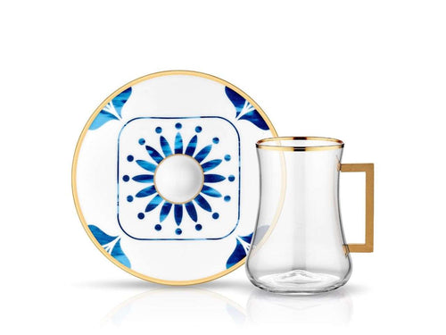 Dervish Eliza Handle Tea Glass and Saucer-Tea Sets-K-United
