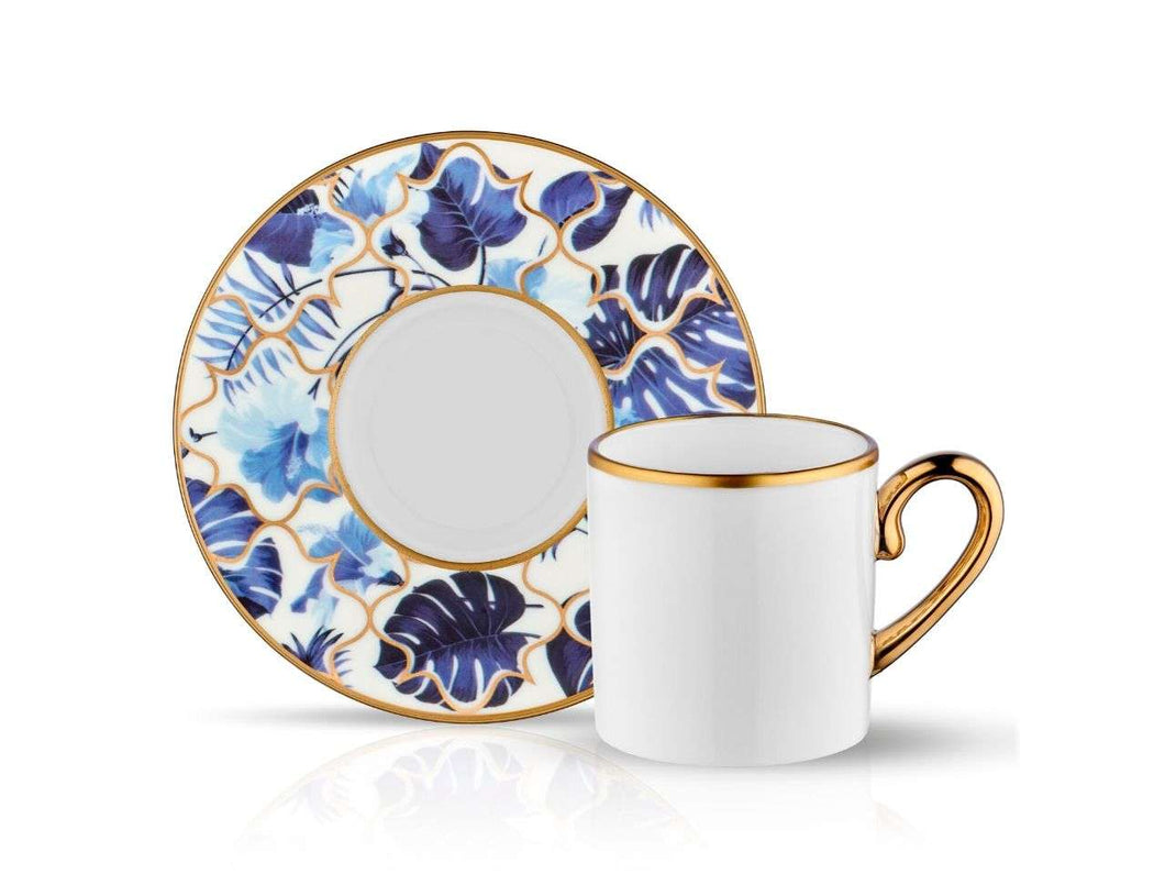 Eva Amazon Blue Coffee Cup and Saucer - Gold - 90 cc-Cups, Saucers & Mugs-K-United