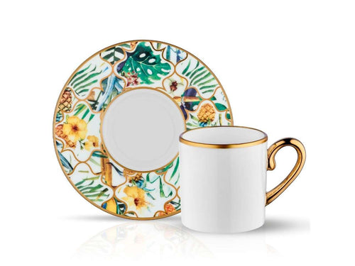 Eva Amazon Brasil Coffee Cup and Saucer - Gold - 90 cc-Cups, Saucers & Mugs-K-United