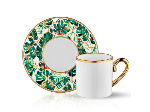 Eva Amazon Equator Coffee Cup and Saucer - Gold - 90 cc-Cups, Saucers & Mugs-K-United