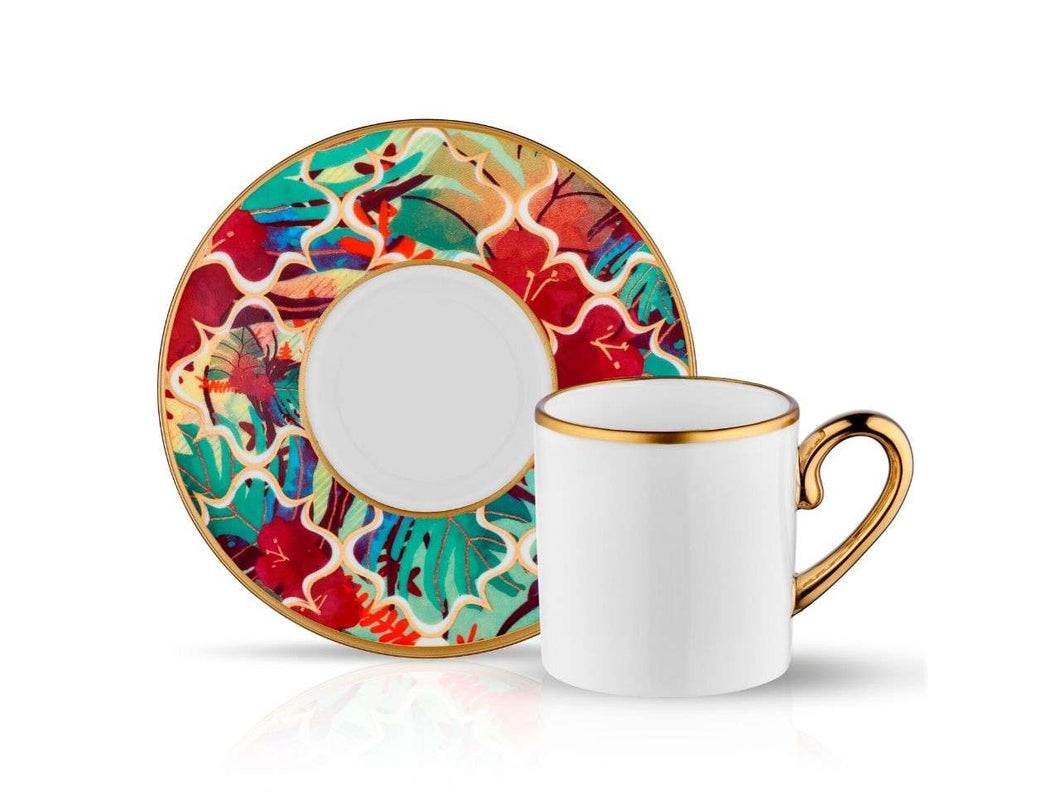 Eva Amazon Tropic Coffee Cup and Saucer - Gold - 90 cc-Cups, Saucers & Mugs-K-United