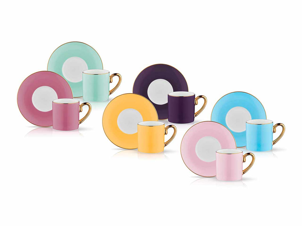 Eva Caprice Espresso Coffee Set - Set of 6 - 90 cc-Cups, Saucers & Mugs-K-United