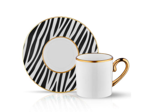 Eva Zebra Coffee Cup and Saucer - 90 cc
