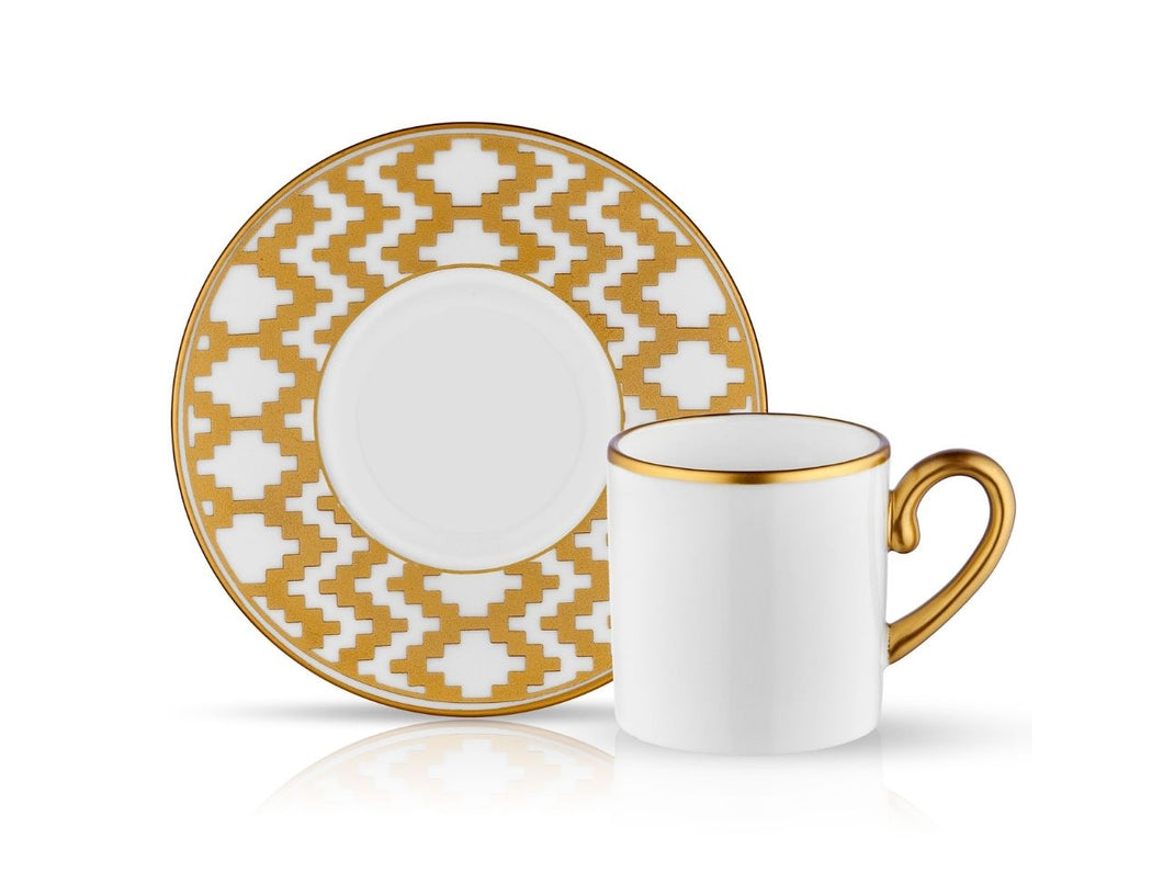Eva Coffee Cup and Saucer Kilim - Gold - 90 cc