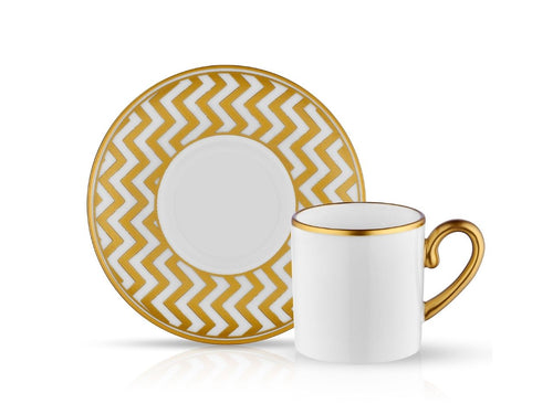 Eva Coffee Cup and Saucer Zigzag - Gold - 90 cc