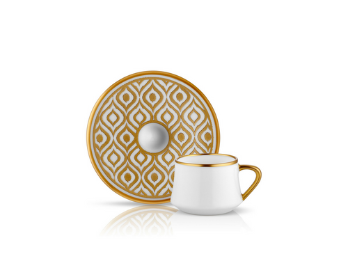 Sufi Ikat Coffee Cup and Saucer - Mat Gold - 90 cc-Cups, Saucers & Mugs-K-United