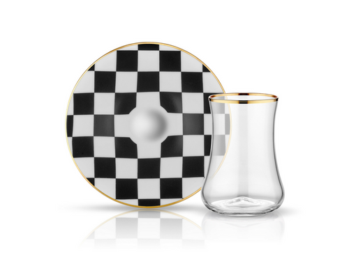 Dervish Checkerboard Tea Glass and Saucer-Tea Sets-K-United