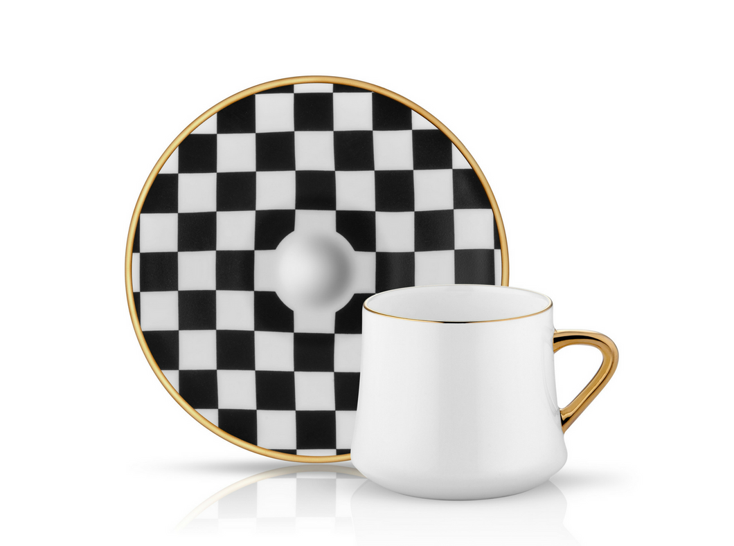 Sufi Cup and Saucer Checkerboard - 230 cc-Cups, Saucers & Mugs-K-United