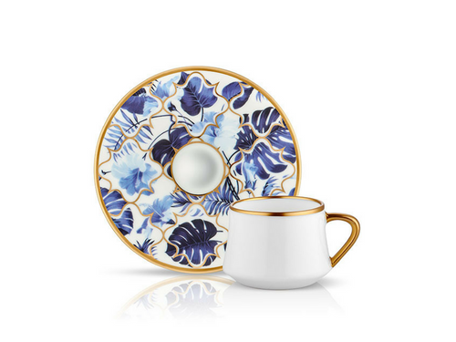 Sufi Coffee Cup and Saucer - Amazon Blue - 90 cc-Cups, Saucers & Mugs-K-United