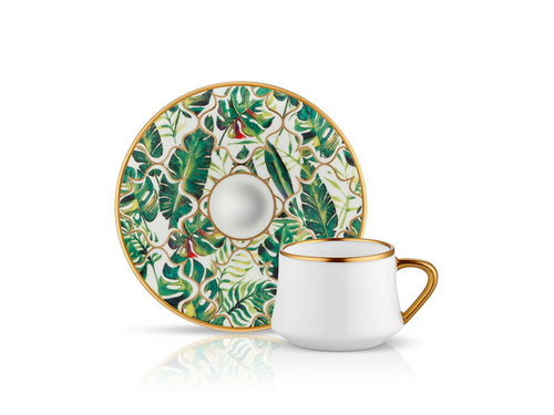 Sufi Coffee Cup and Saucer - Amazon Equator - 90 cc-Cups, Saucers & Mugs-K-United