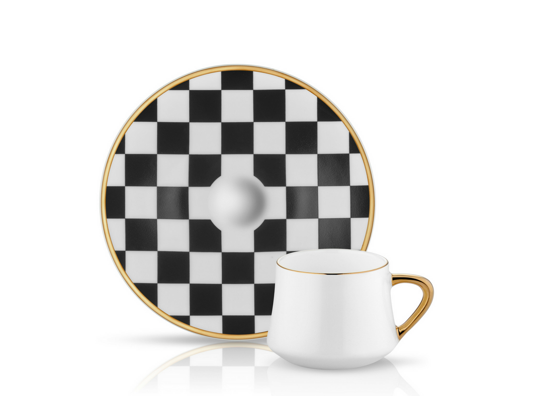 Sufi Coffee Cup and Saucer - Checkerboard - 90 cc-Cups, Saucers & Mugs-K-United
