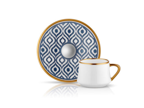 Sufi Ikat Coffee Cup and Saucer - Anthracite Mat Gold - 90 cc-Cups, Saucers & Mugs-K-United