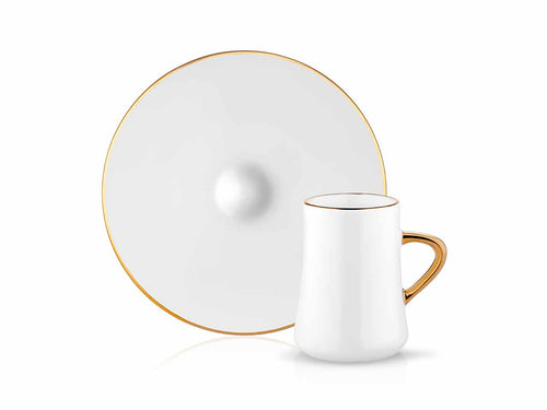 Sufi Cafe Lungo Cup and Saucer - Gold Rim - 90 cc-Cups, Saucers & Mugs-K-United