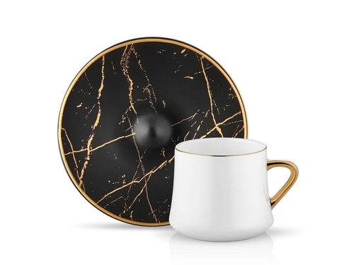 Sufi Cup and Saucer - Black Marble - 230 cc-Cups, Saucers & Mugs-K-United