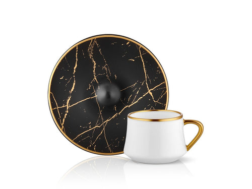 Sufi Espresso Coffee Set - Black Marble - 90 cc-Cups, Saucers & Mugs-K-United