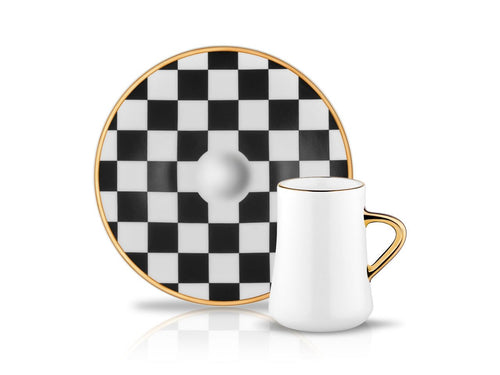 Sufi Cafe Lungo Cup and Saucer - Checkerboard - 90 cc-Cups, Saucers & Mugs-K-United