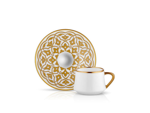 Sufi Tulip Coffee Cup and Saucer - Mat Gold - 90 cc-Cups, Saucers & Mugs-K-United