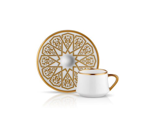 Sufi Seljuq Coffee Cup and Saucer - Mat Gold - 90 cc-Cups, Saucers & Mugs-K-United