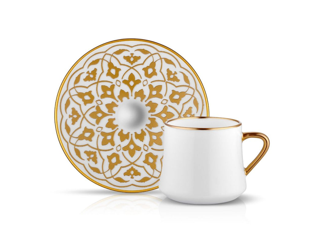 Sufi Tulip Cup and Saucer - Mat Gold - 230cc-Cups, Saucers & Mugs-K-United