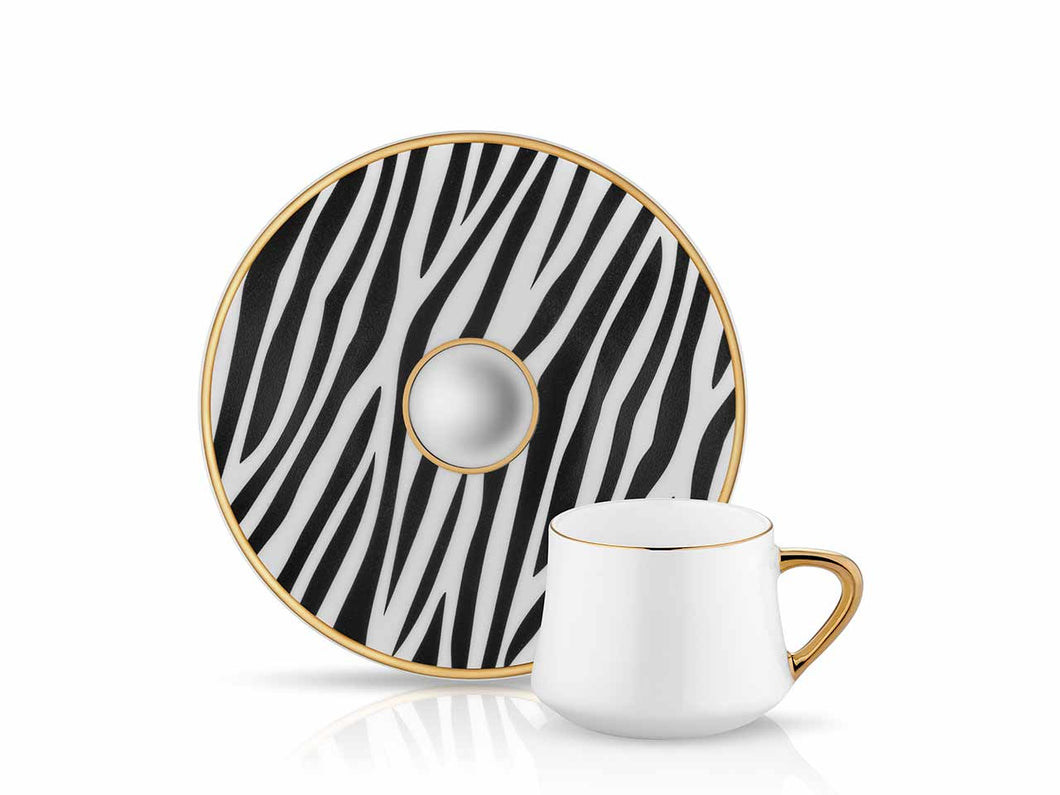 Sufi Coffee Cup and Saucer - Zebra - 90 cc-Cups, Saucers & Mugs-K-United