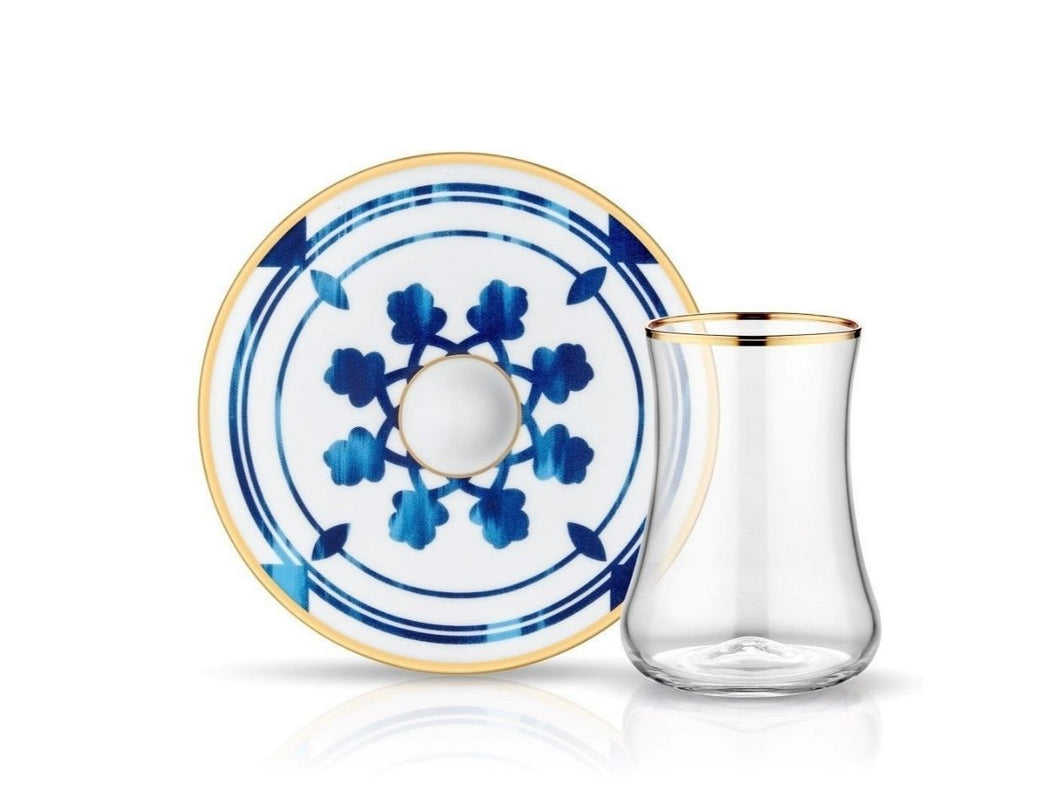 Dervish Blue Blanc Azra Tea Glass and Saucer
