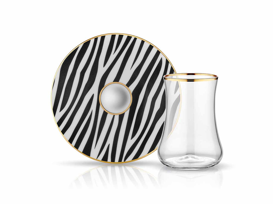 Dervish Zebra Tea Glass and Saucer-Tea Sets-K-United