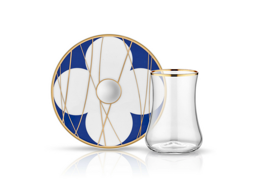 Dervish Bonita Cobalt Tea Glass and Saucer-Tea Sets-K-United
