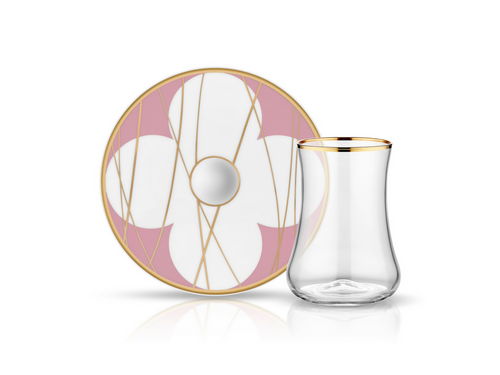 Dervish Bonita Pink Tea Glass and Saucer