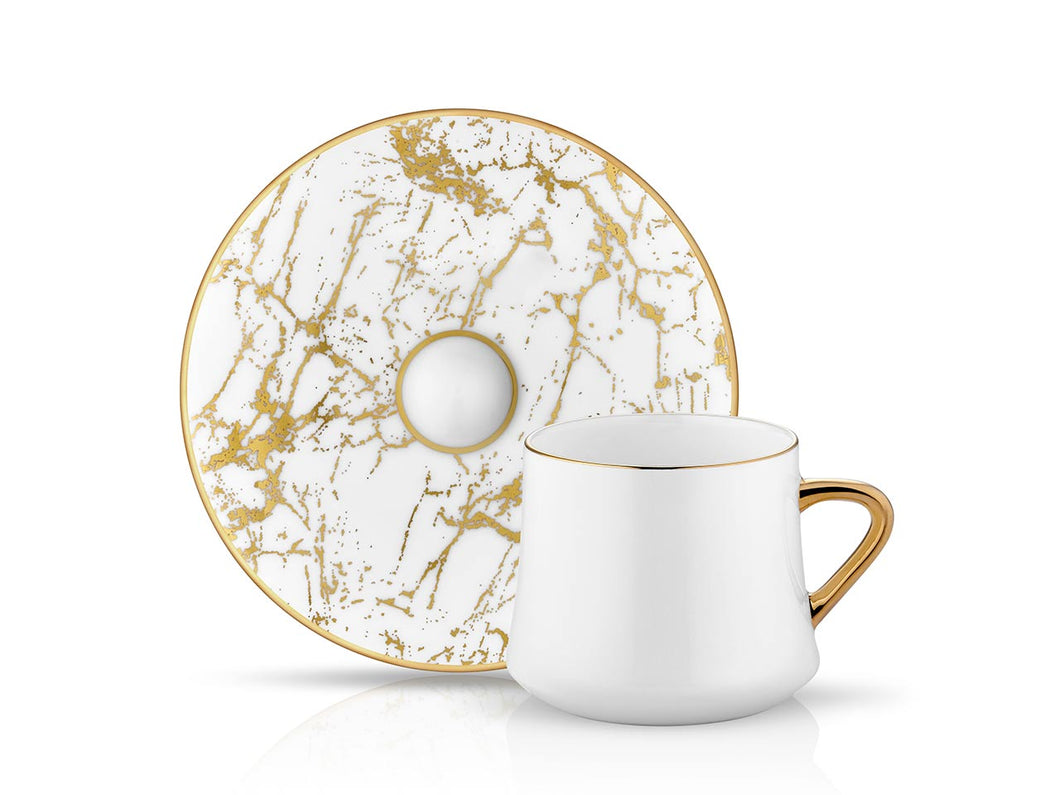 Sufi Cup and Saucer - White Marble - 230 cc-Cups, Saucers & Mugs-K-United