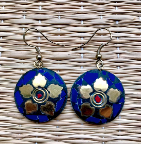 Blue Brass Earrings