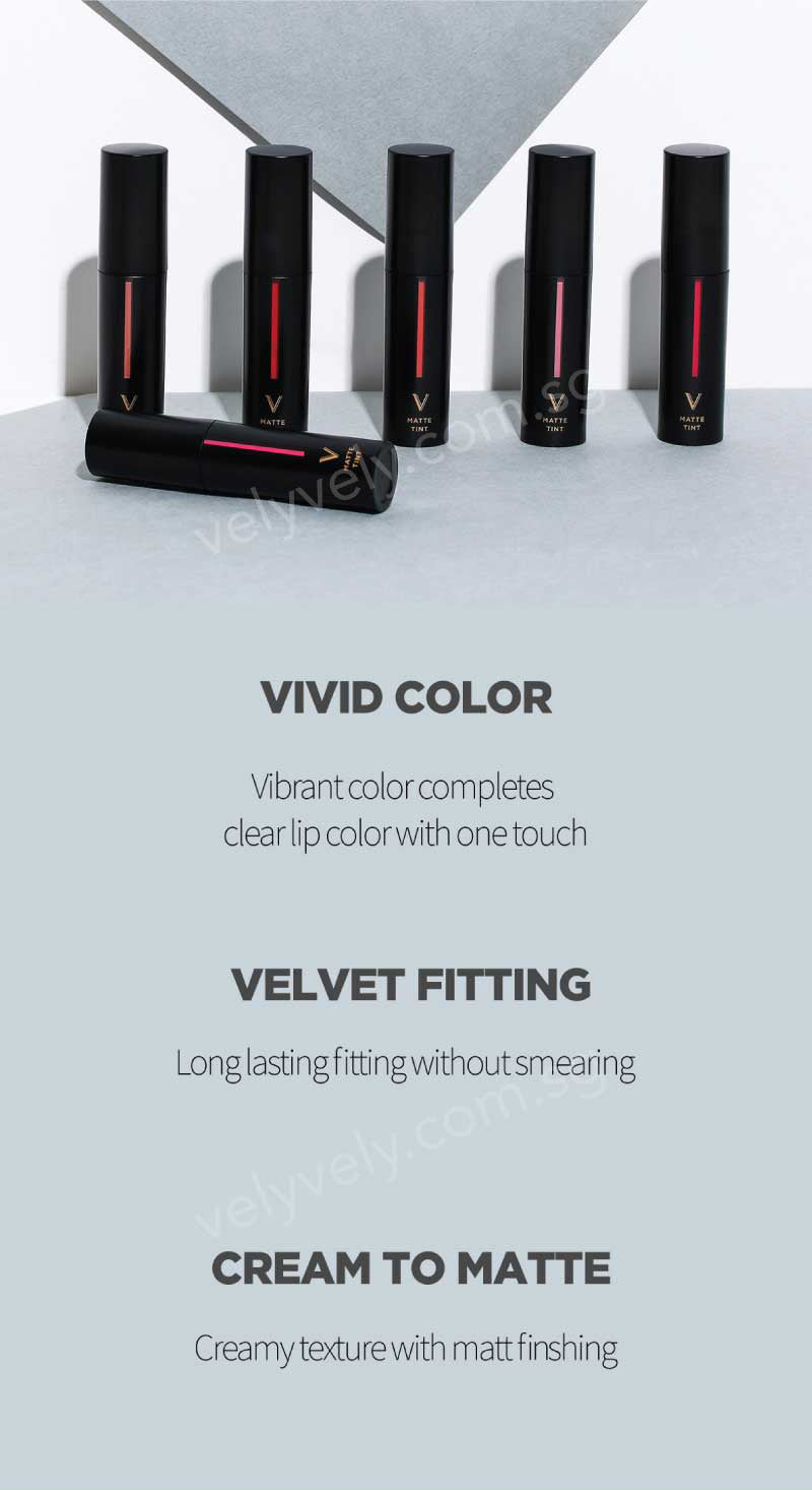The Vely Vely Matte Tint lipsticks are not only pigmented in colour, but they are super long lasting too! The texture is very velvety and its a cream to matte finish!