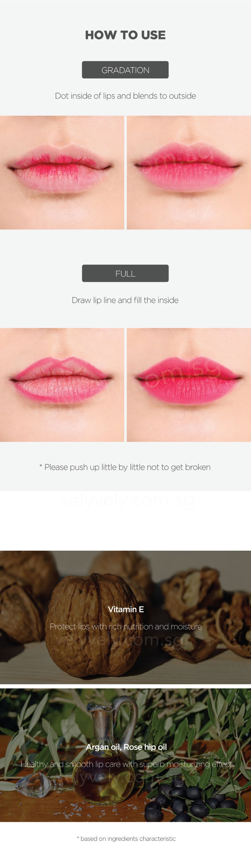 Use 2 colours to create depth in your lip ideas! What's even better is it contains Vitamin E and Rose hip oil to keep your lip moisturise and looking perfect all day long!