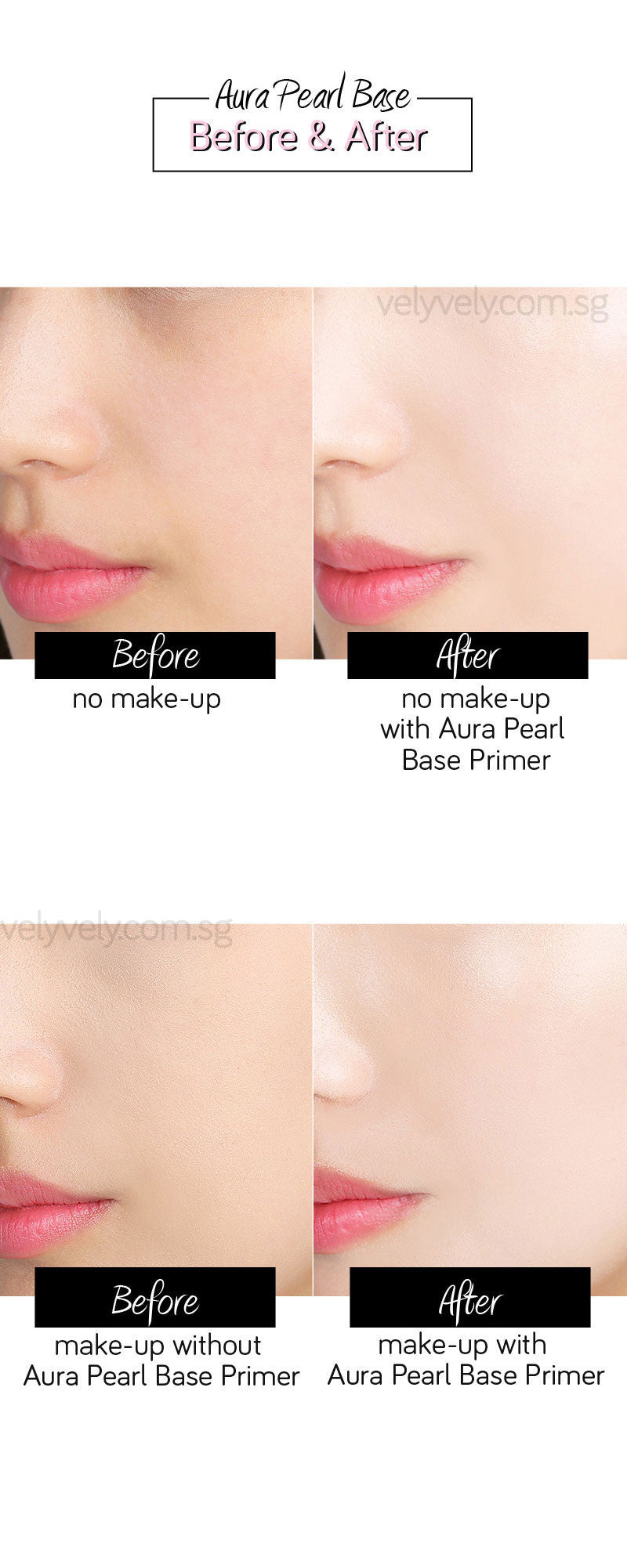 With and without comparison using the Aura Pearl Base Primer