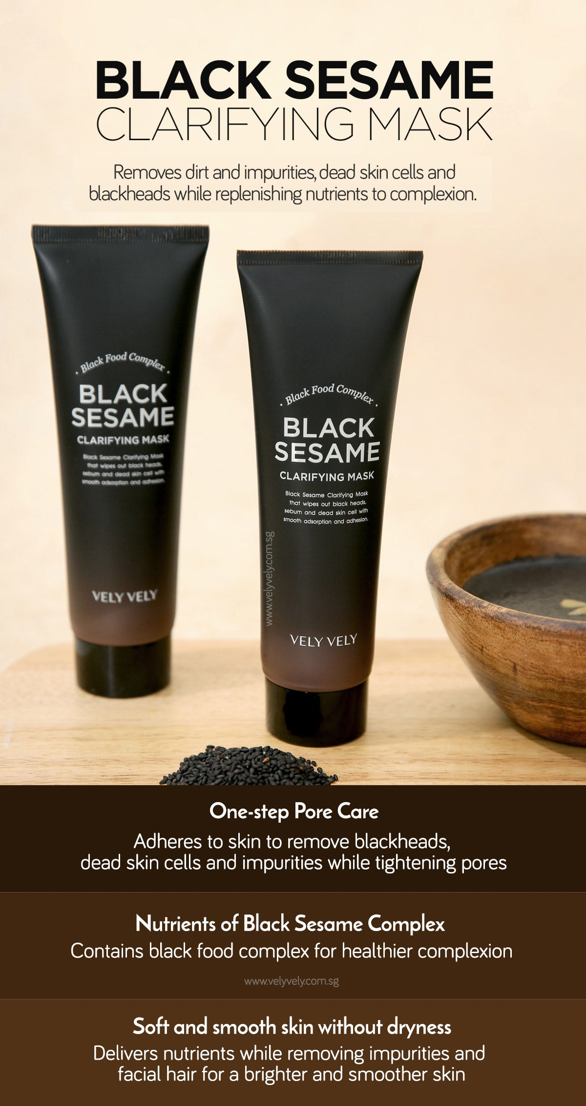 Vely Vely Black Sesame Clarifying Mask removes dirt and impurities, dead skin cells and blackheads while replenishing nutrients to skin.