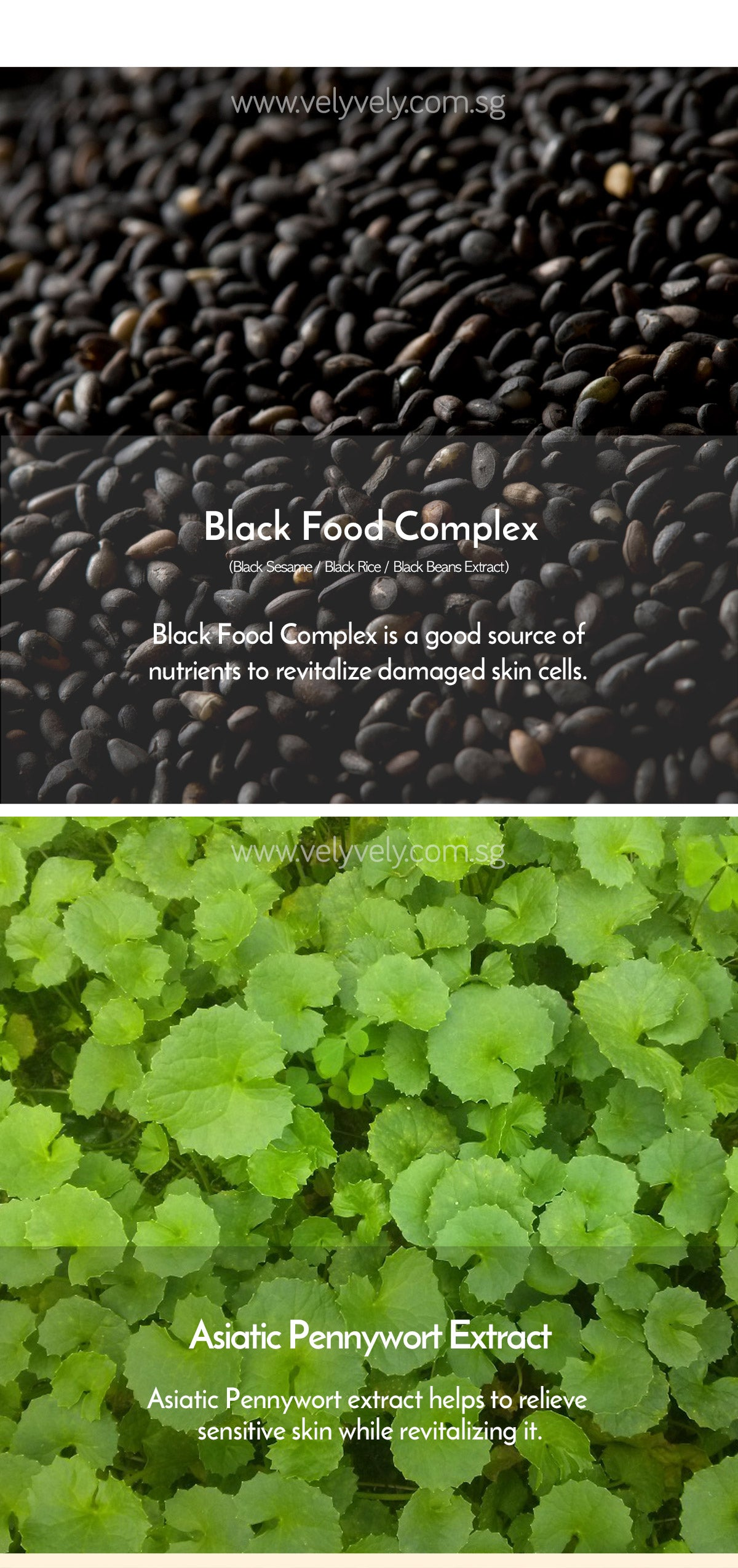 Vely Vely Black Sesame Clarifying Mask - Ingredients (Blackfood complex/Black Rice/Black Beans & Asian Pennywort Extract)