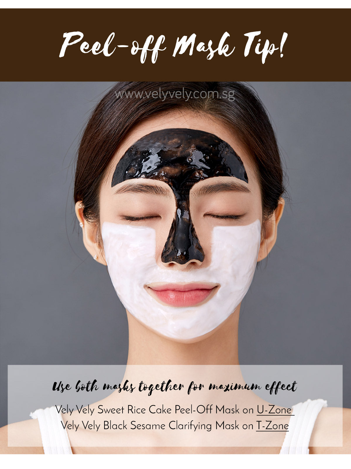 Vely Vely Black Sesame Clarifying Mask Tip! Use it together with Vely Vely Sweet Rice Cake Peel-Off Mask.