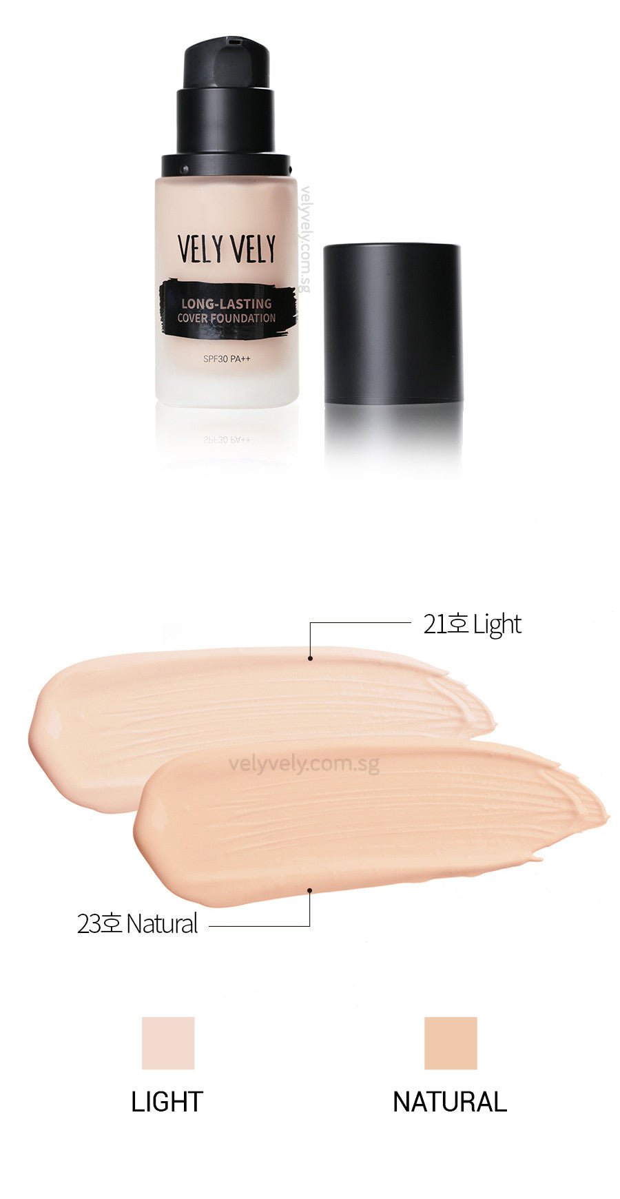 Swatches of Vely Vely Long-Lasting Cover foundation in Light #21 and Natural #21