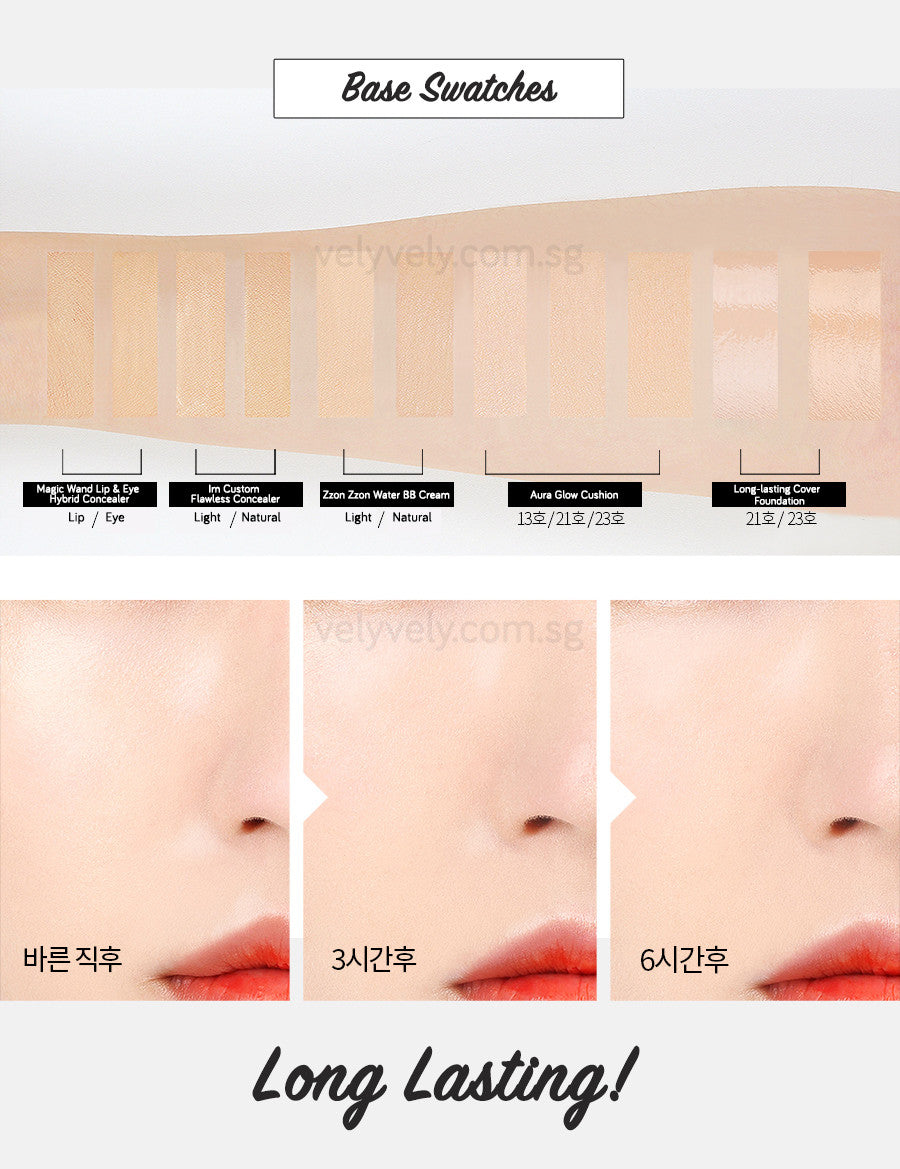 Swatch comparisons between the different face base products and different shades