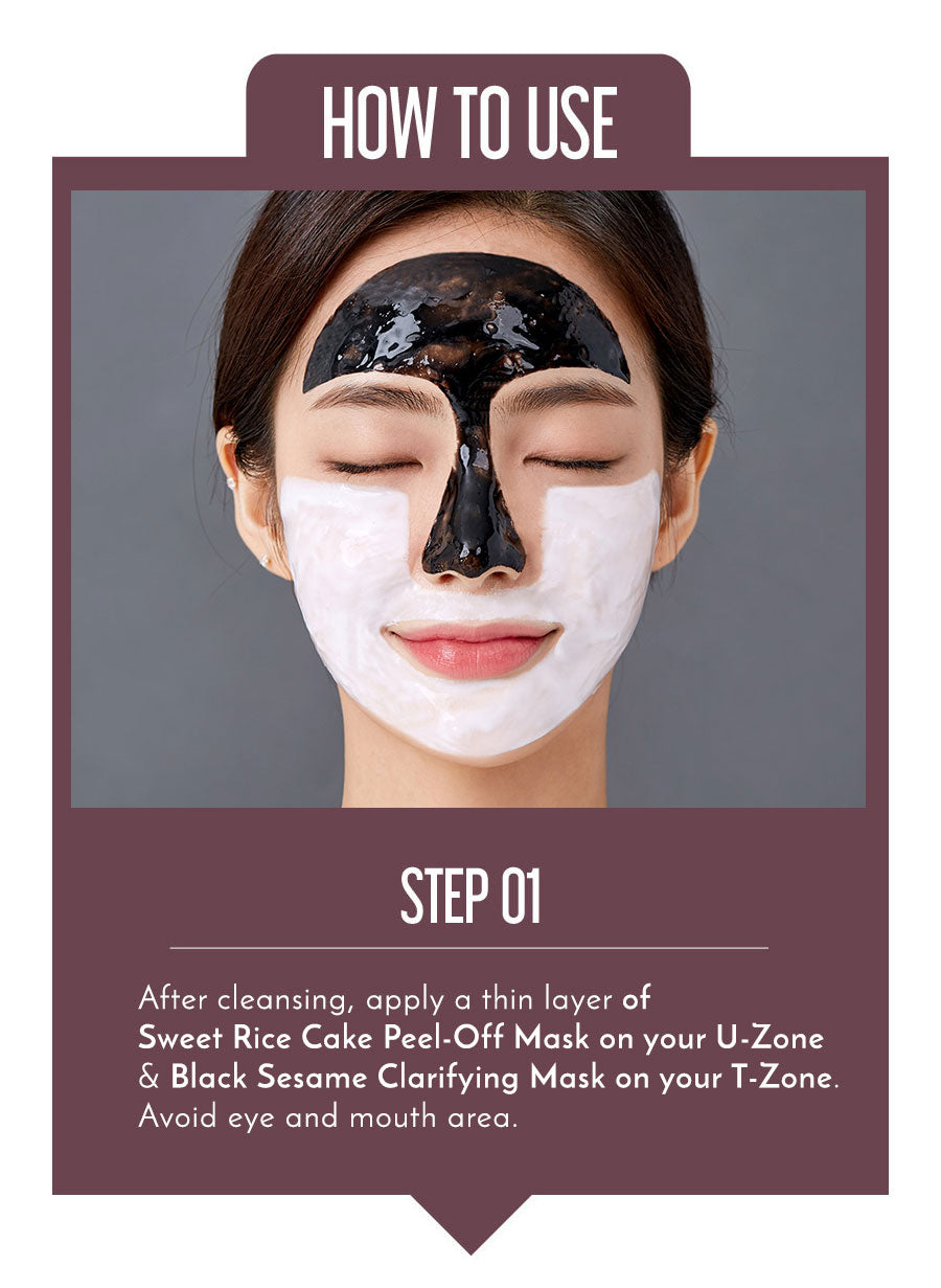 How To Use Sweet Rice Cake Peel-Off Mask & Black Sesame Clarifying Mask together