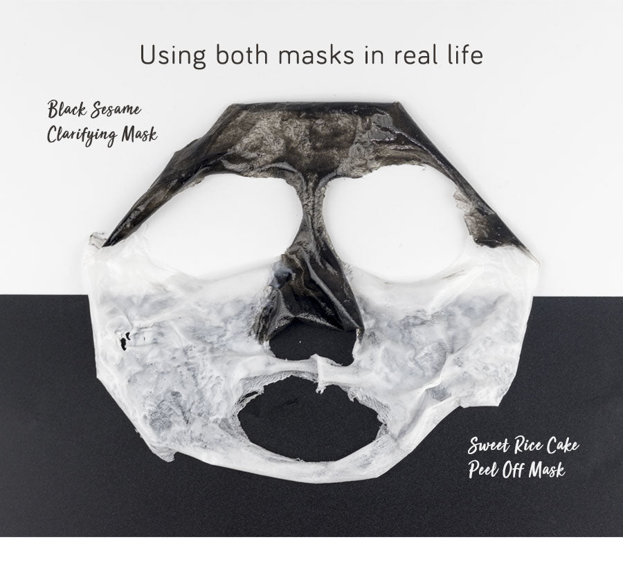 Sweet Rice Cake Peel-Off Mask & Black Sesame Clarifying Mask in real life