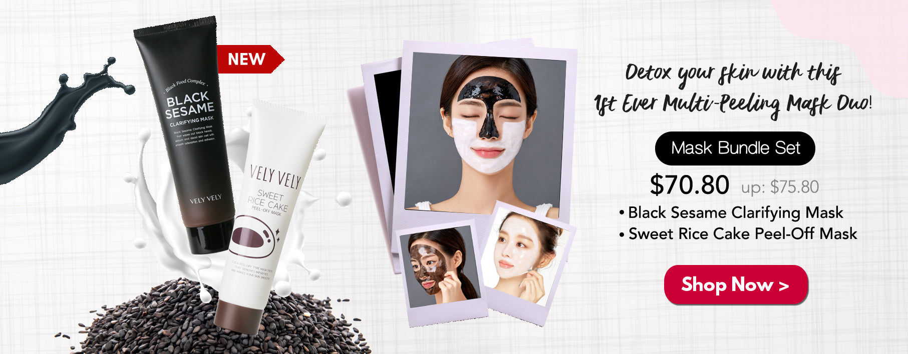 Vely Vely Sweet Rice Cake & Black Sesame Clarifying Mask Bundle