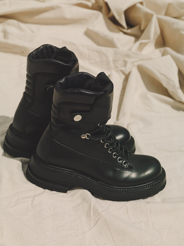 Black Calf Leather Goodyear Storm Welted Tanker Boot