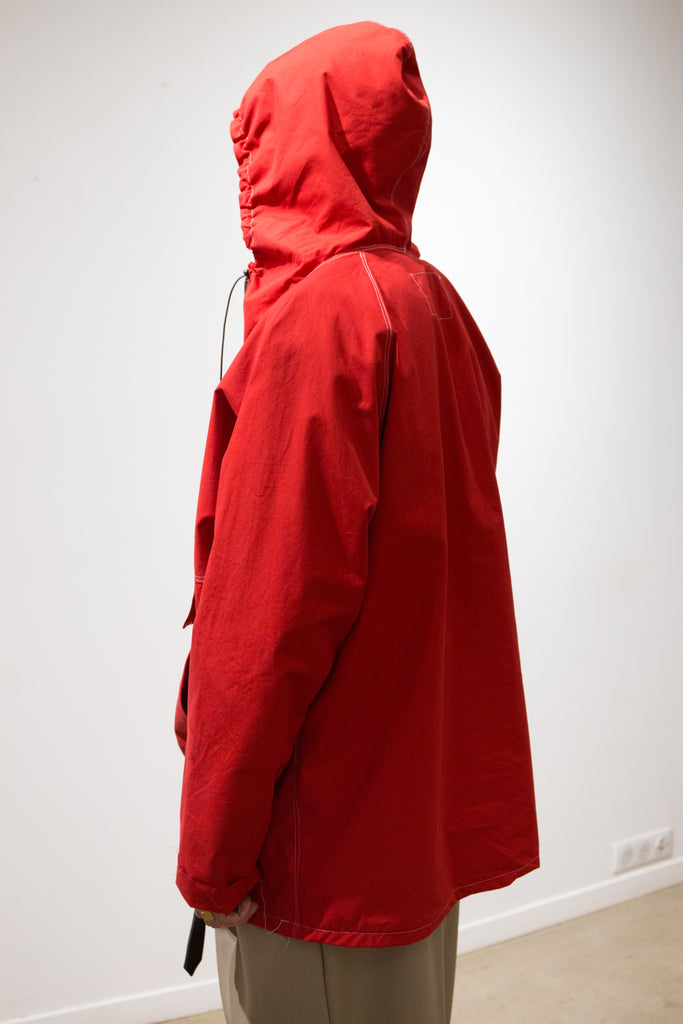 Red Waterproof Cotton Half Zip Anorak
