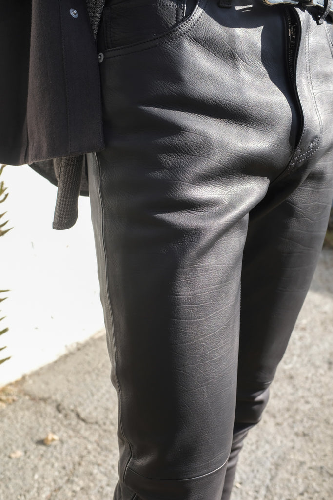 Black Calfskin 5 Pocket Leather Pants